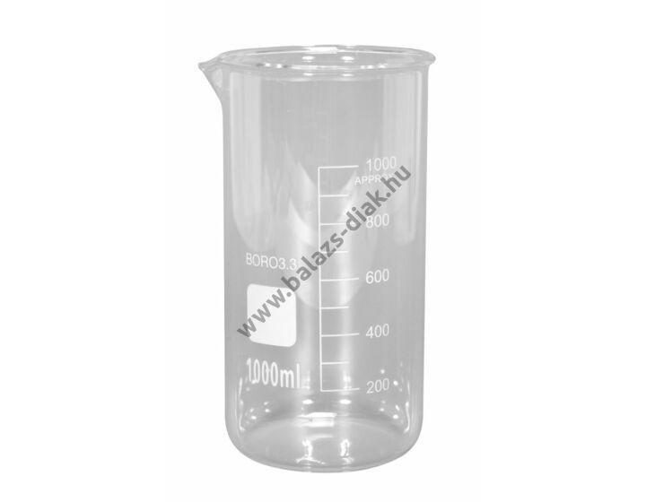 Magas főzőpohár, 1000 ml, kiöntővel, beosztással. Hőálló üvegből.