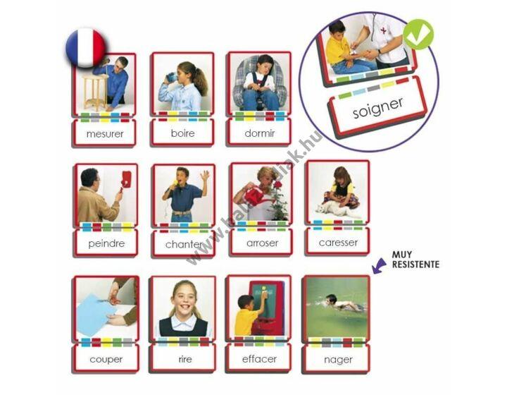 Kép és szó kártya - Igék, cselekvések francia