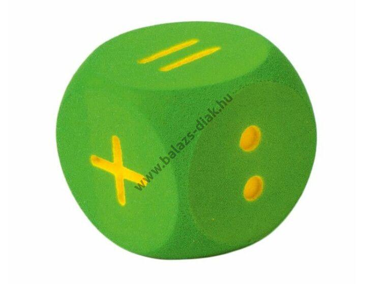 Számkocka - zöld (16cm,számolójelekkel: ./:/+/+/-)