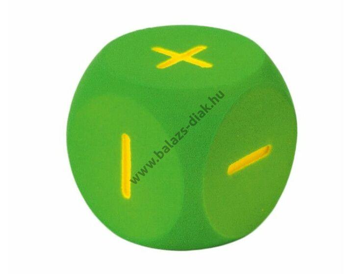 Számkocka - zöld (16cm, számolójelekkel: +++---)