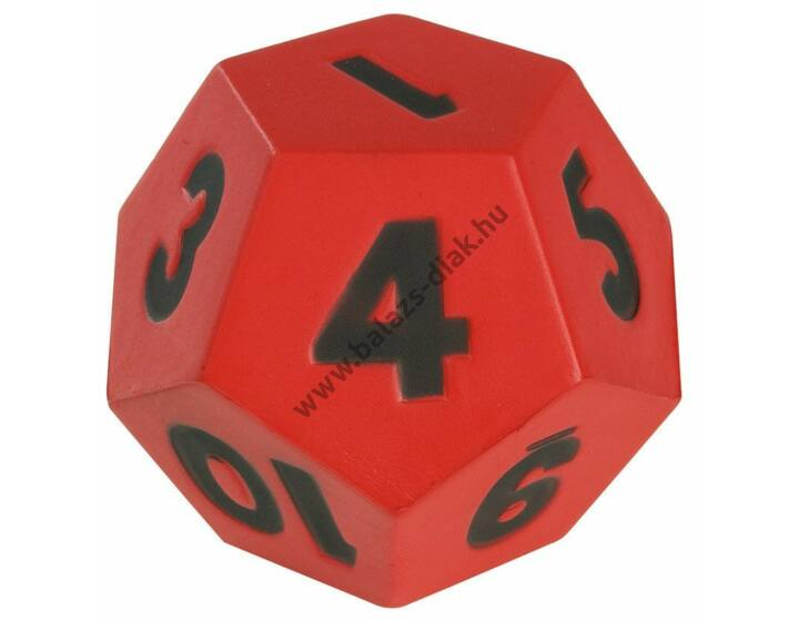 Számkocka 1-12-ig 10 cm piros 75g