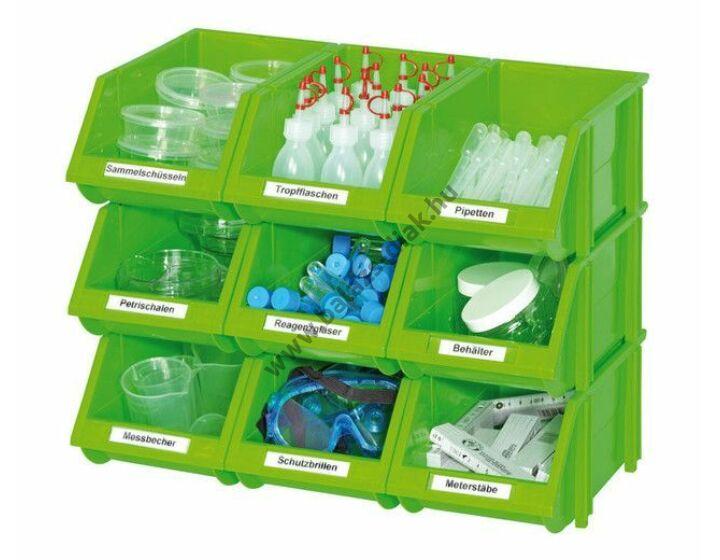 Kis nyitott tárolórekeszek zöld színben