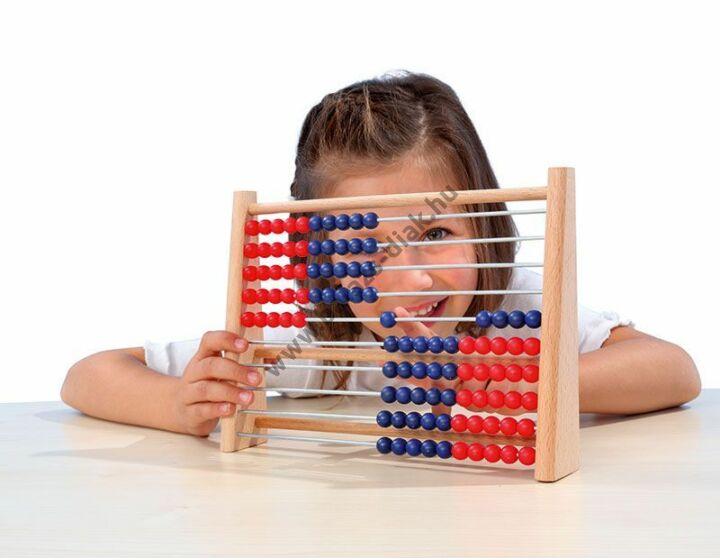 Tanulói abakusz kék/piros golyókkal