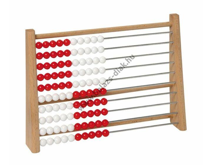 Tanulói abakusz fehér/piros golyókkal
