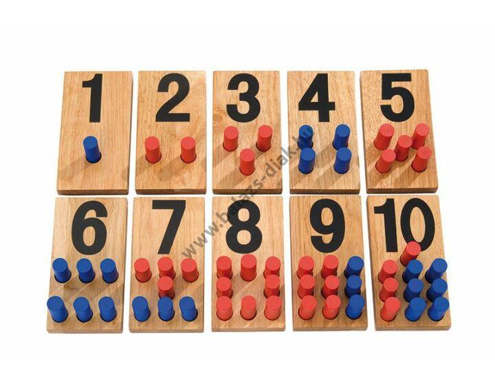 Számoló táblácskák fából - kétszínű számoló rudakkal