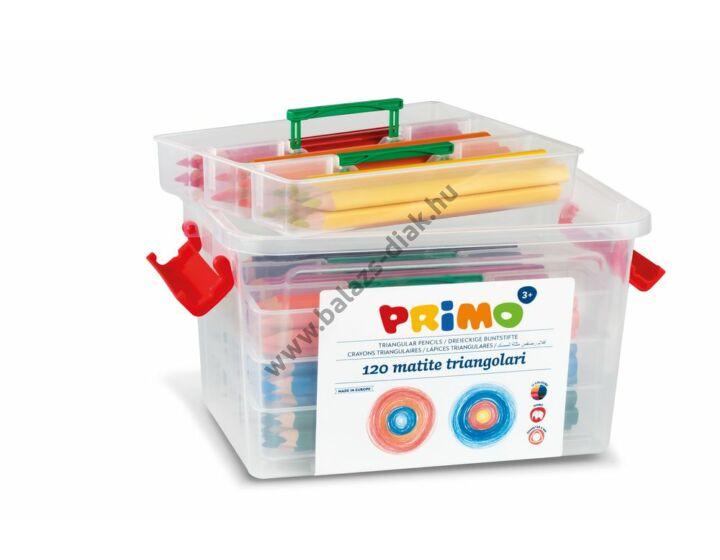 Háromszöletű színesceruza készlet műanyag tároló dobozban (120 darabos)