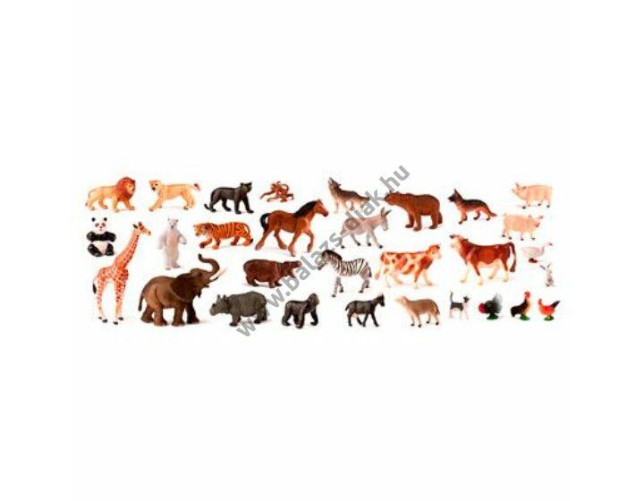 Farm és dzsungel állatok, 30 figura, praktikus tárolódobozban
