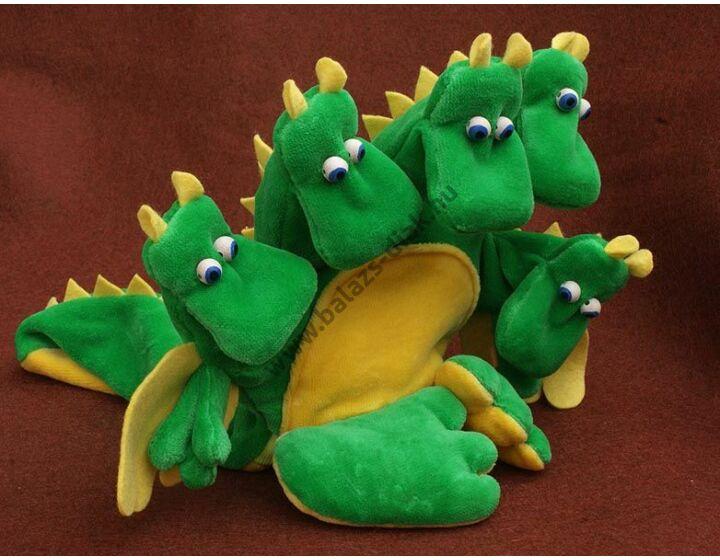 Ötujjas báb: egyszínű sárkány - gyerek kézre