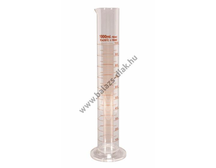 Mérőhenger üvegtalpas, 1000 ml, B jelű, barna festésű, Anyaga: Boro 3.3