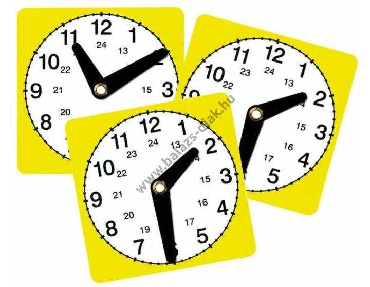 Tanulói óra mozgatható mutatókkal műanyag 11x11 cm