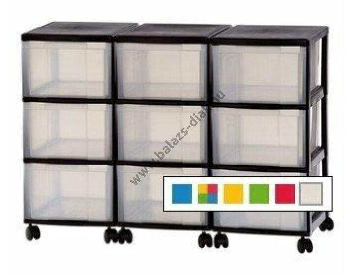 Görgős műanyag tároló 9 fiókkal