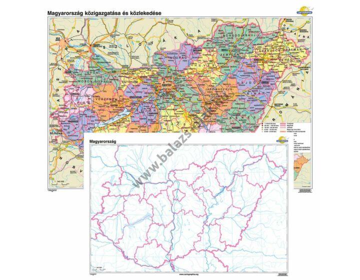 Magyarország közigazgatása és közlekedése + vaktérkép DUÓ