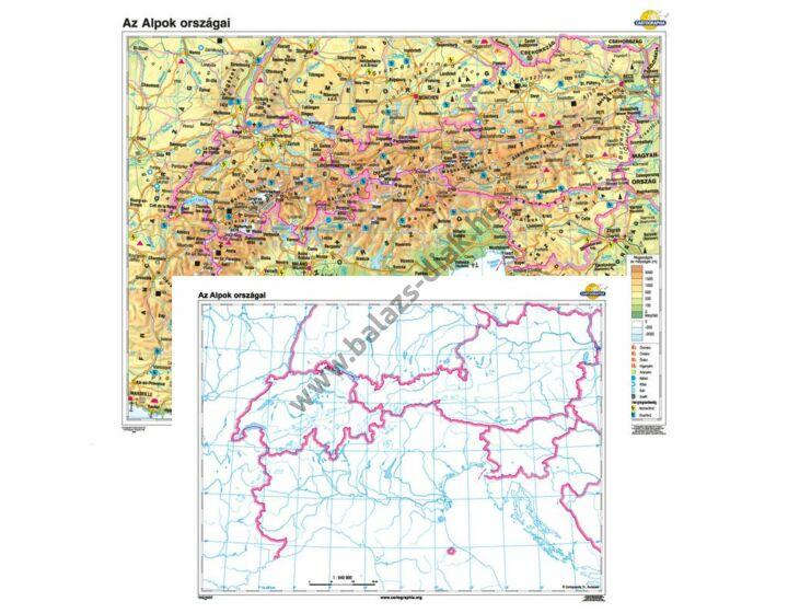 Az Alpok országai + vaktérkép DUÓ