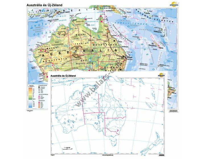 Ausztrália és Új-Zéland + vaktérkép DUÓ