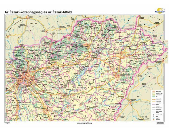 Északi-középhegység és Észak-Alföld térkép 100x70 cm
