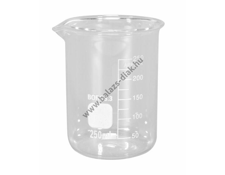 Főzőpohár 250ml, alacsony, boroszilikát üvegből