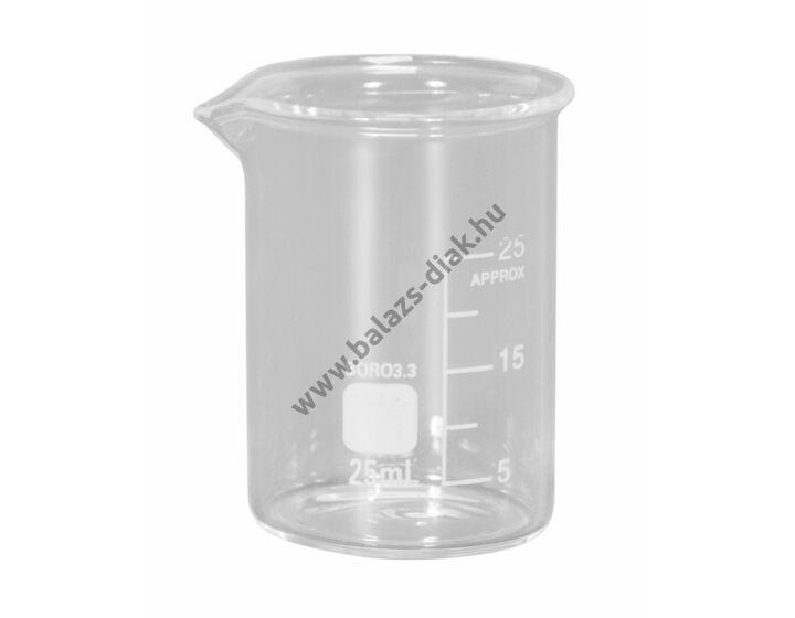 Főzőpohár 25ml, alacsony, boroszilikát üvegből
