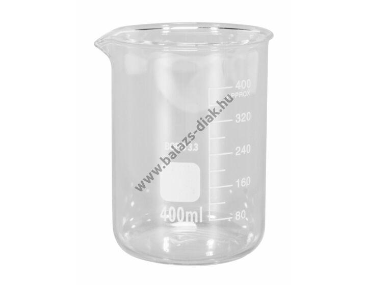 Főzőpohár 400ml, alacsony, boroszilikát üvegből