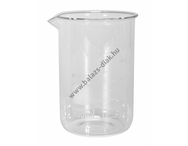 Főzőpohár 1000ml, alacsony, boroszilikát üvegből